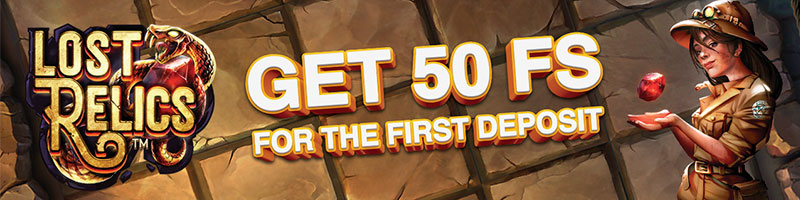 50 Free spins in Lost Relics for the first deposit