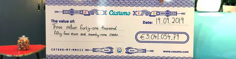 Casumo player wins 3 mil jackpot with a 50 cent spin