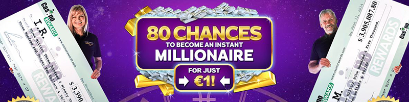 80 chances to become an instant millionaire for just 1 EUR at Zodiac Casino
